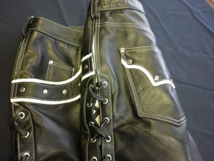 Штаны кожаные декорированные
